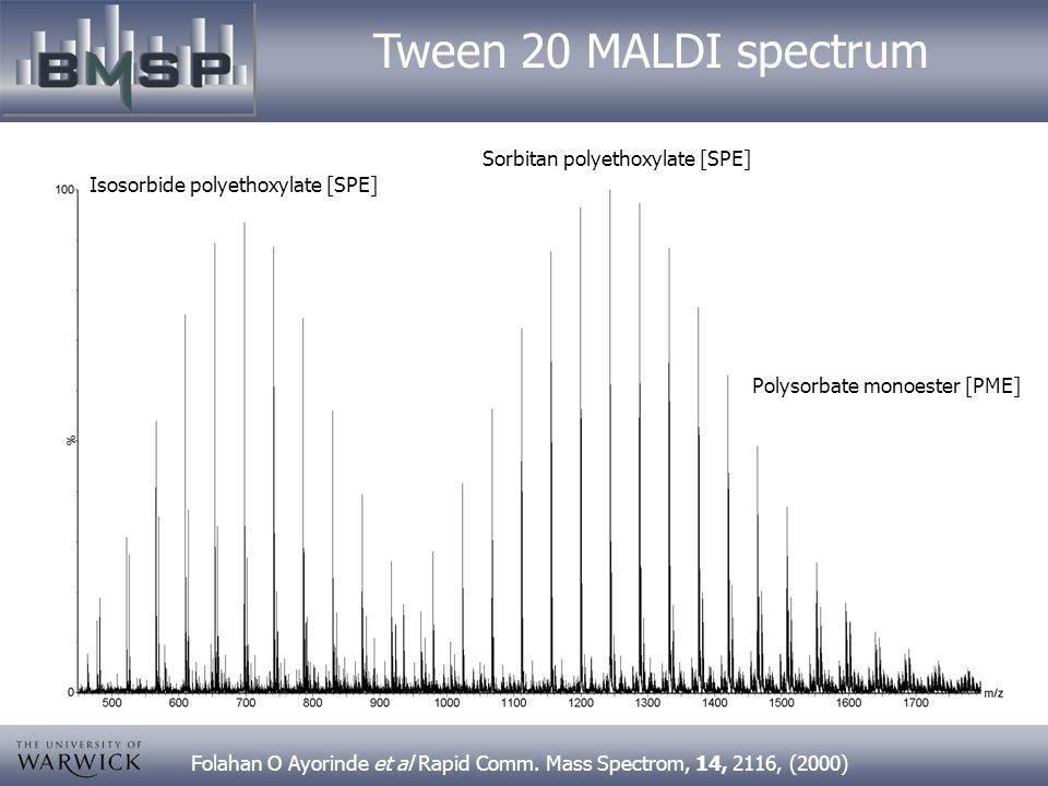 Tween 20 MALDI spectrum Sorbitan polyethoxylate [SPE]